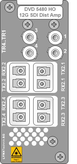 Moduł DVD 5480 umożliwia także konwersję sygnału 12G SDI z pojedynczego łącza na cztery połączenia 3G-SDI i odwrotnie