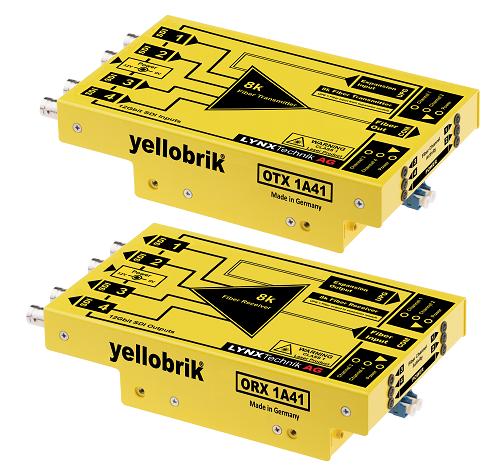 Yellobrik 8K OTR1A41 zestaw do transmisji światłowodowej 4 sygnałów SDI lub nieskompresowanych sygnałów 8K (48G)