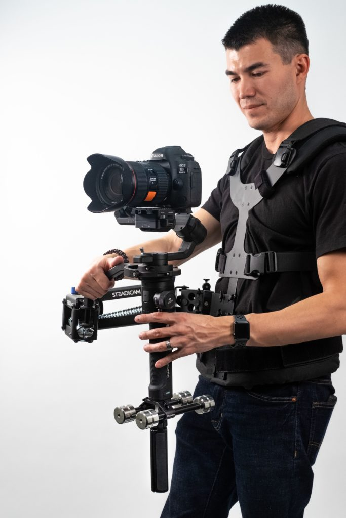 The Steadicam arm reduces vertical  bounce